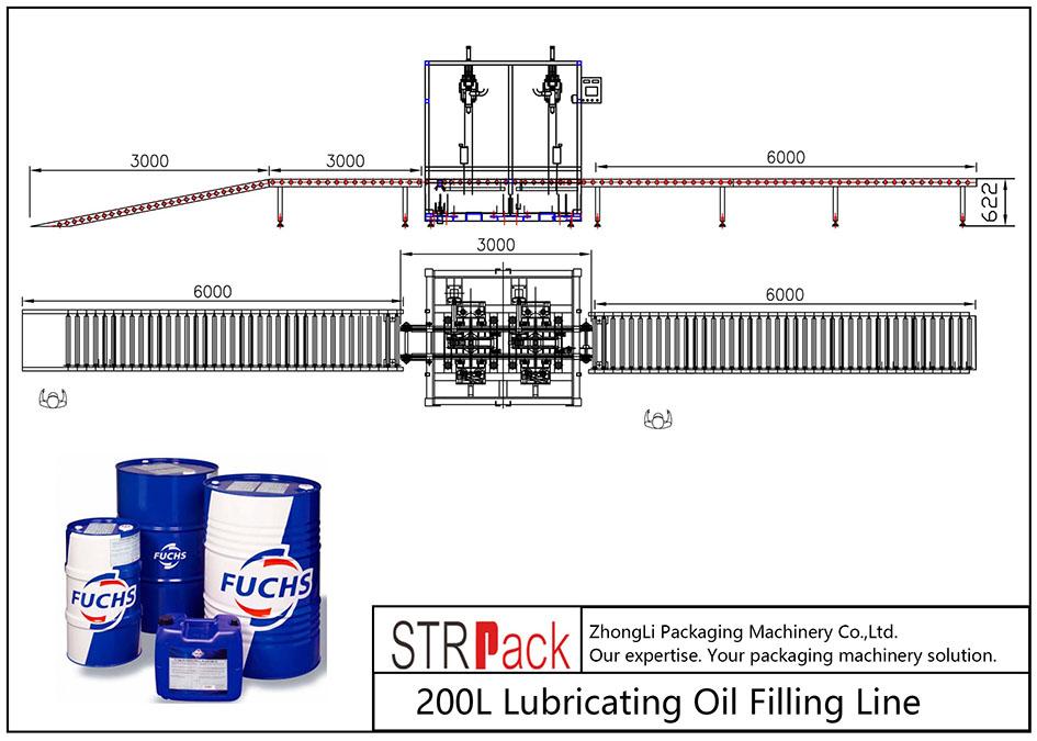 Plnicí linka mazacího oleje s objemem 200 litrů