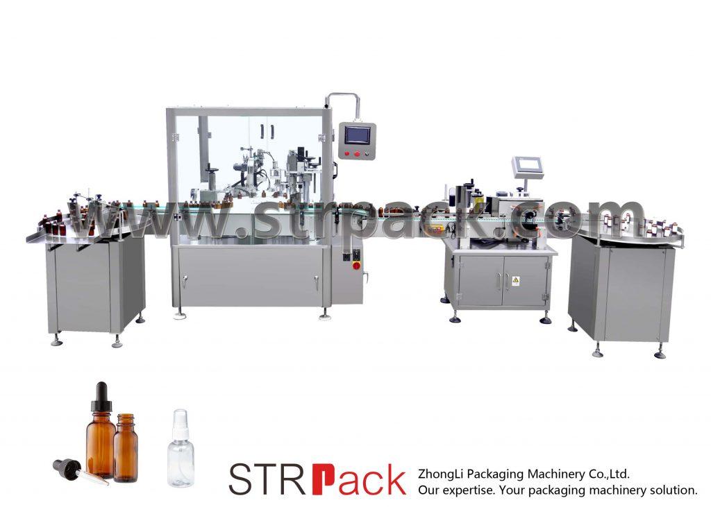 Automatické kapací lahví plnění a uzavírání stroj