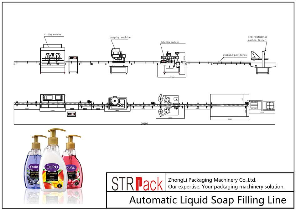 Plnicí linka automatické tekuté mýdlo