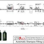 Plnicí linka pro automatické šamponování