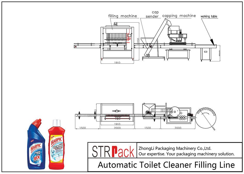 Plnicí linka automatické toaletní čističky