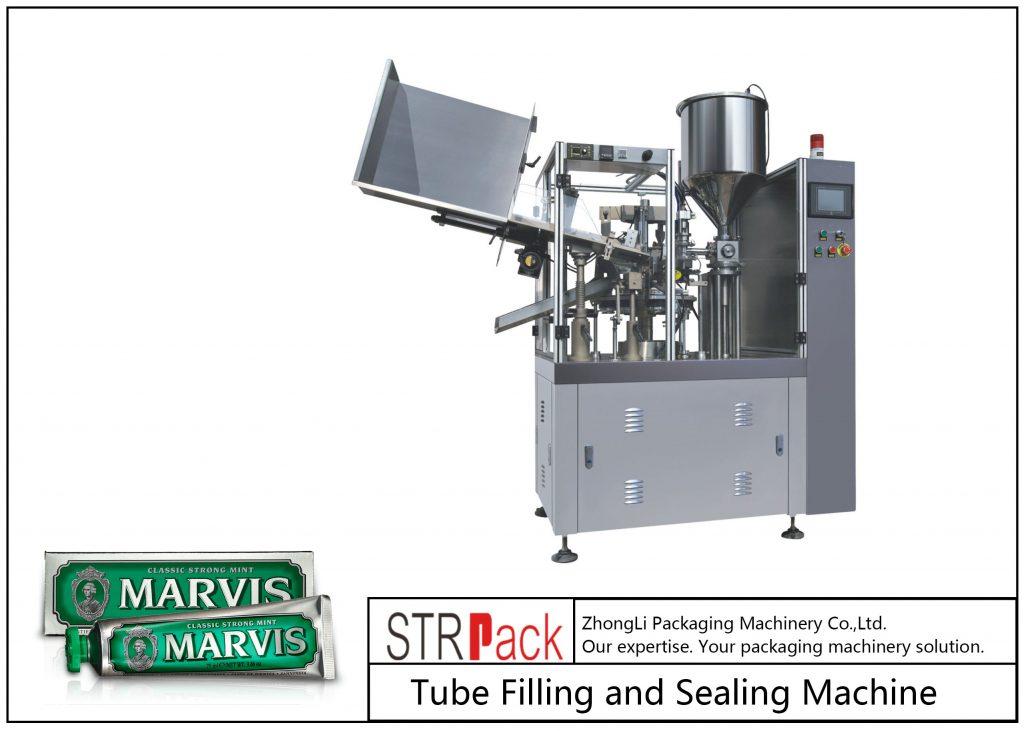 Stroj na plnění a uzavírání plastových trubek SFS-60